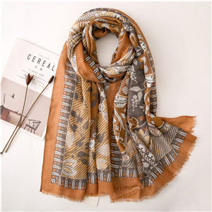 Camel print tassel cotton cheap scarf