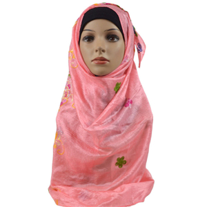 Wholesale hot drilling embroidered muslim scarf