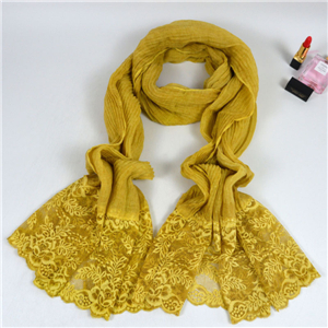 Wholesale cotton lace muslim scarf