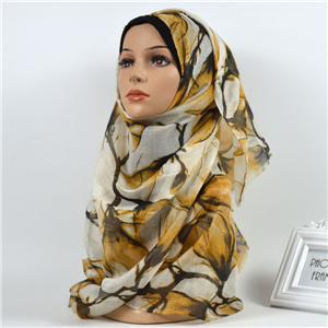 Wholesale gold silk printed cotton muslim scarf