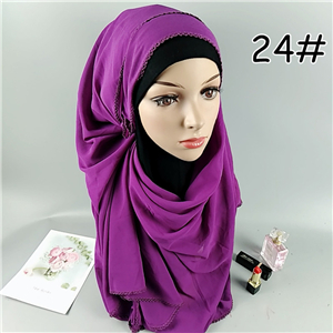 Wholesale solid color lace chiffon muslim scarf