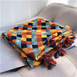 Wholesale plaid pattern decorated cotton scarf
