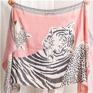 Wholesale animal pattern leopard cotton decorative scarf