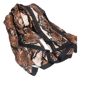Snakeskin printed curled cotton cheap scarf