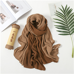 Wholesale crepe contrast cotton decorative scarf