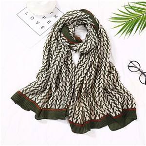 Crumpled v-pattern cotton warm cheap scarf