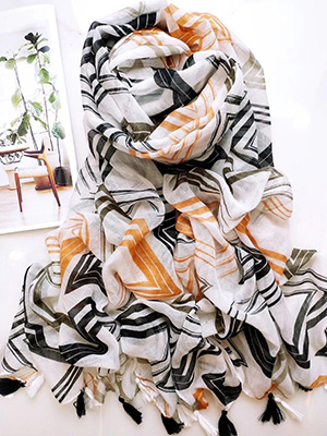 Long cotton print scarf wholesale
