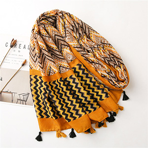 Fringe printed corrugated cotton linen scarf