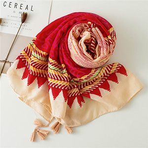 Rose red cotton warm print scarf