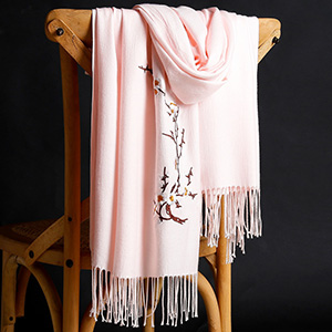Winter thick pure color warm tassel cashmere scarf