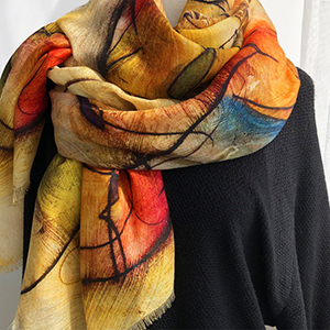 Long color annual ring shawl 100% cashmere scarf