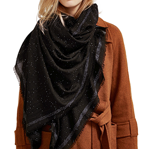 Black gold sequined 100% cashmere scarf wholesale