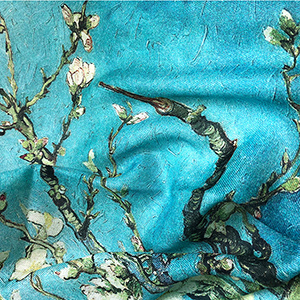 Apricot Flower Oil Painting Shawl Thickened 100% Cashmere Scarf