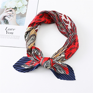Color block cashew decorated silk scarf wholesale