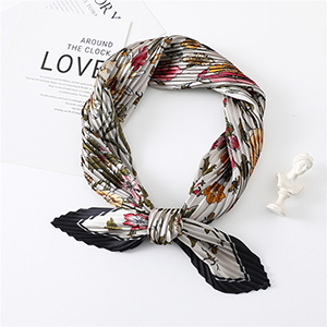 Wholesale printed pleated satin silk scarf