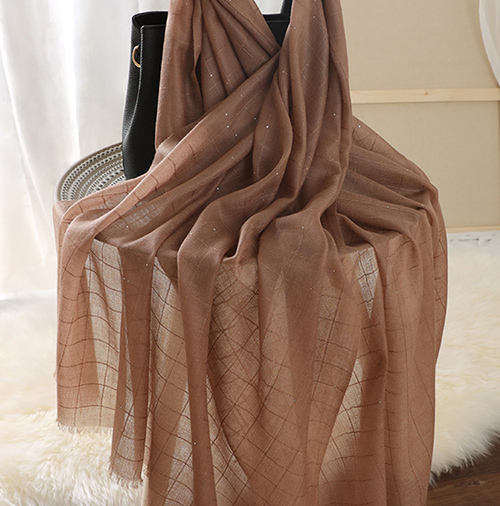 100% cashmere plaid sequined brown scarf