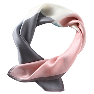 Grey pink square stitching pure silk scarf