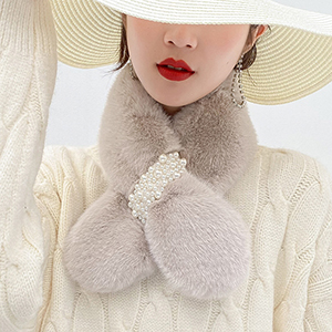 Pearl decoration thick warm scarf wholesale