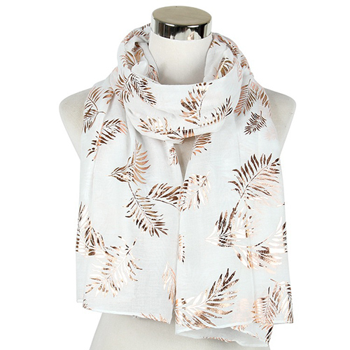 Wholesale leaf bronzing shawl plain print scarf