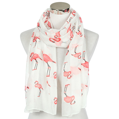 Wholesale flamingo print shawl polyester scarf