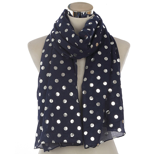 Cotton metal polka dot hot stamping scarf wholesale