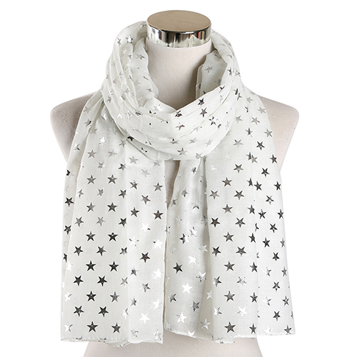 Ladies star print pattern scarf wholesale