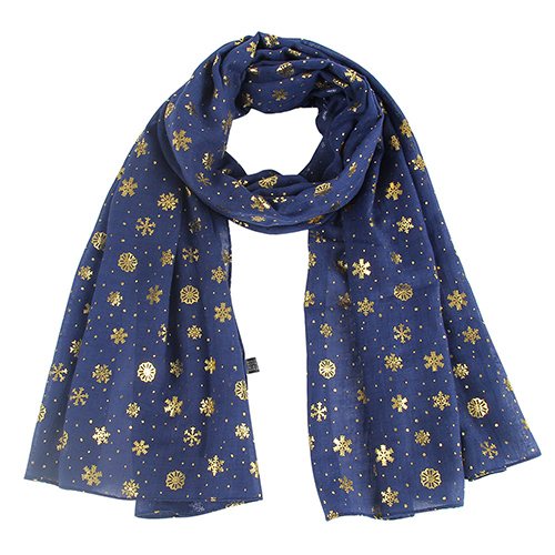 Winter birthday snowflake gilded cotton scarf