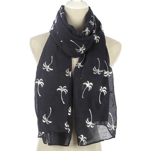 Wholesale bronzing coconut tree sunscreen print scarf
