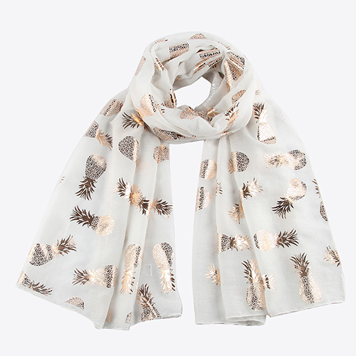 Summer white pineapple decoration scarf wholesale