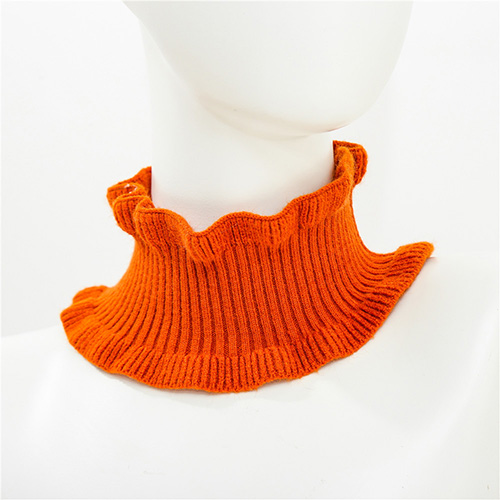 Pure color long knitted bib warm scarf