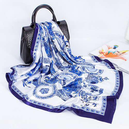 Blue white porcelain square scarf wholesale china
