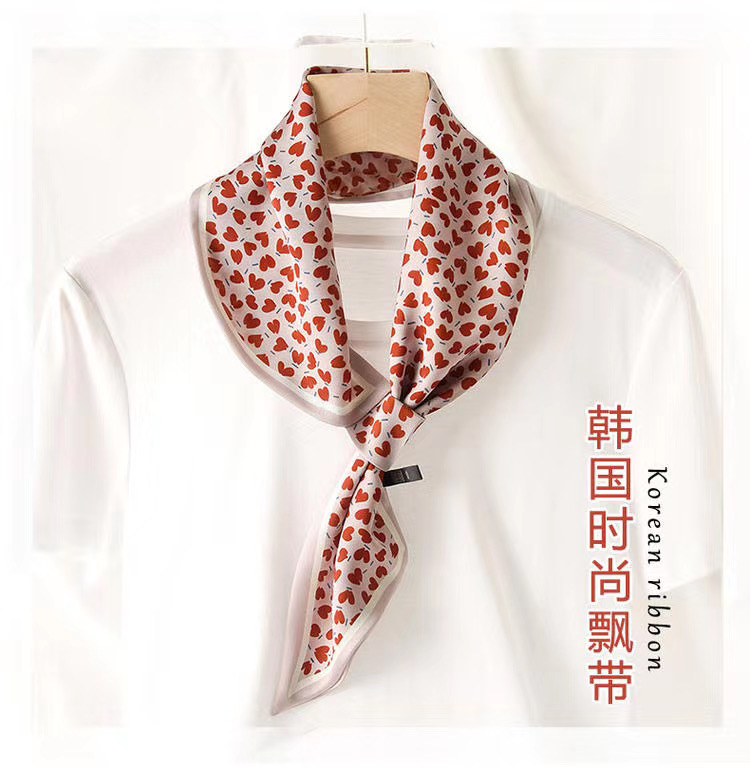 Small perforated silk imitation scarf summer scaves