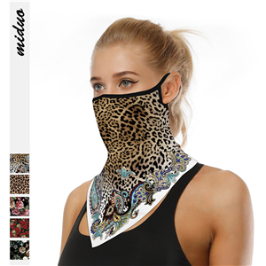 Wholesale leopard print hanging ear triangle silk scarf