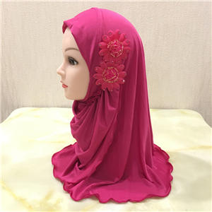 Wholesale two flowers pure color cotton Muslim headscarf