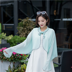 Wholesale lapel lace up ruffled chiffon long sleeve shawl