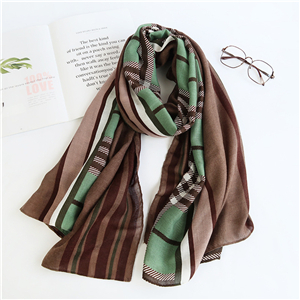 Wholesale plaid pattern cotton linen scarf