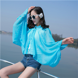 Wholesale solid color small stand collar chiffon scarf