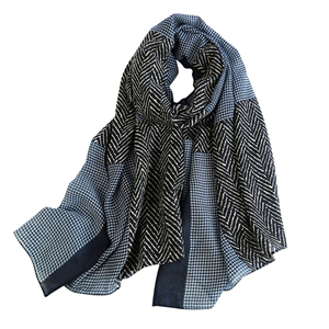 China cheap geometric plaid cotton linen scarf