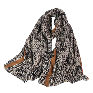 Chinese cheap I-shape geometric pattern cotton linen scarf