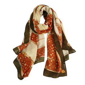 Wholesale printed cotton linen decorative scarf