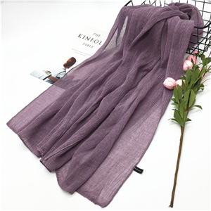 Wholesale solid color cotton linen crumpled scarf