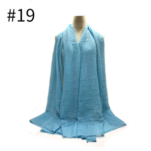 Wholesale solid color pleated fringed scarf