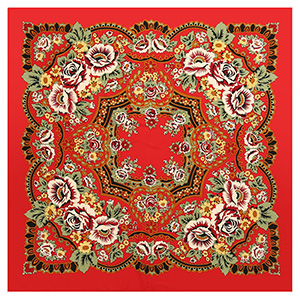 Bohemian floral twill silk square scarf