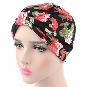 Printed cotton turban hat