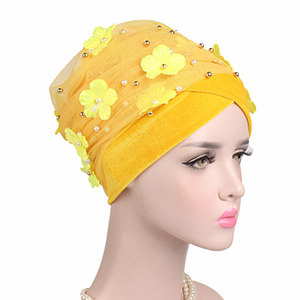 Velvet Pearl Flower Turban Hat