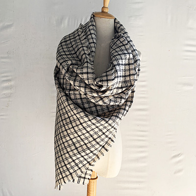 Black and white plaid scarf wholesale