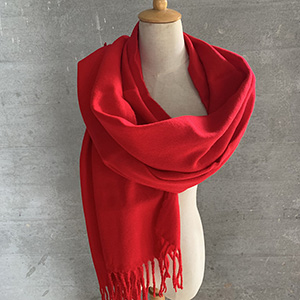 Pure color warm red shawl