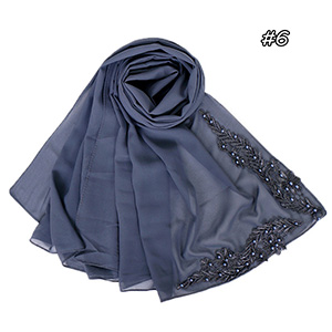 Pure color pearl chiffon embroidered scarf