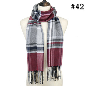 Check striped scarf cashmere scarf