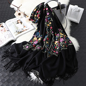 Fringed embroidery floral scarf wholesale